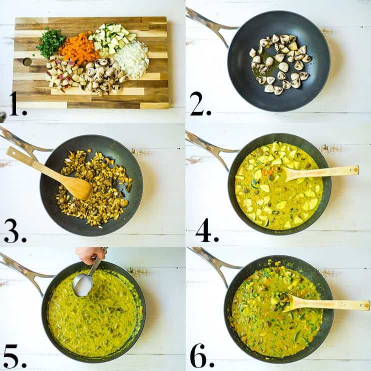 Collage of pictures showing how to make vegetable curry
