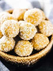 Peanut Butter Protein Balls in a brown bowl