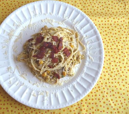 Sweet Corn Pasta with Dill, bacon and mushrooms | heatherlikesfood.com