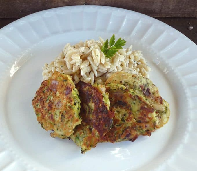 Zucchini Pancakes with Creamy Lemon-Parsley Orzo