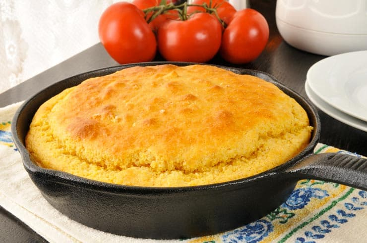 Bisquick cornbread baked in a cast iron skillet