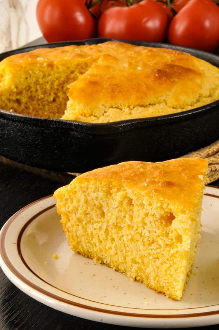 Slice of bisquick cornbread on a plate