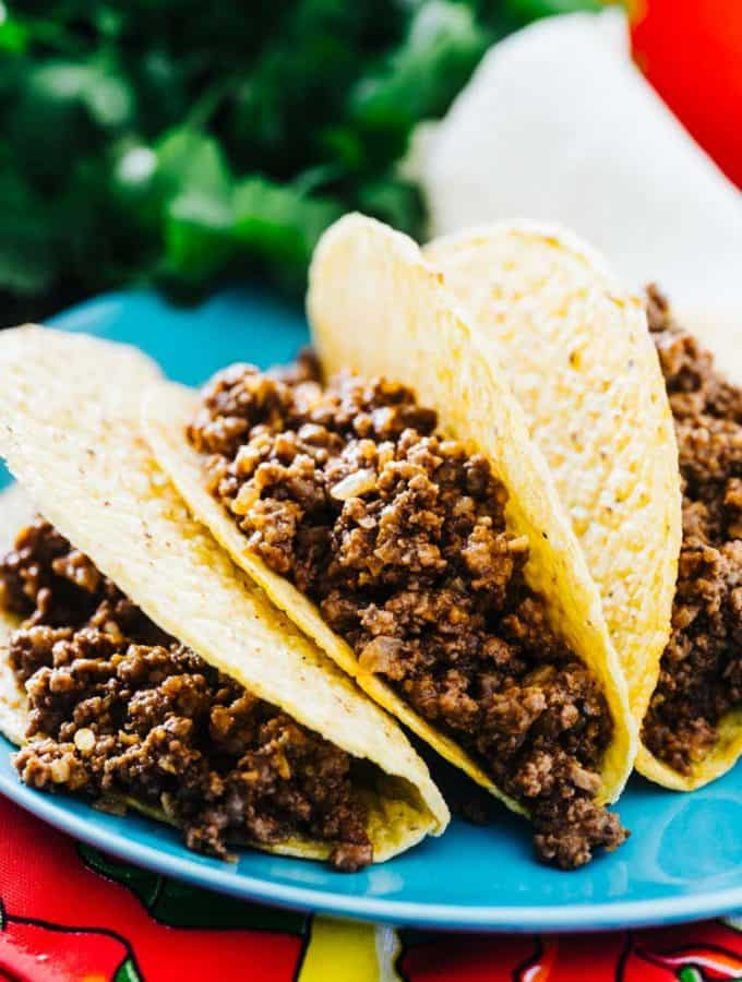Mexican Style Ground beef in taco shells