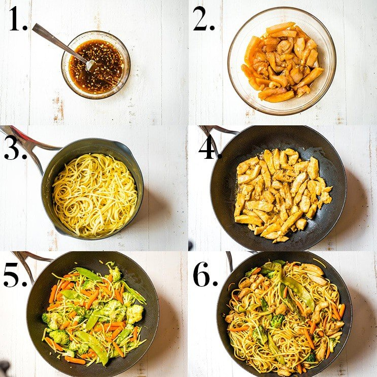 Chicken Lo Mein Recipe photo collage of step-by-step instructions