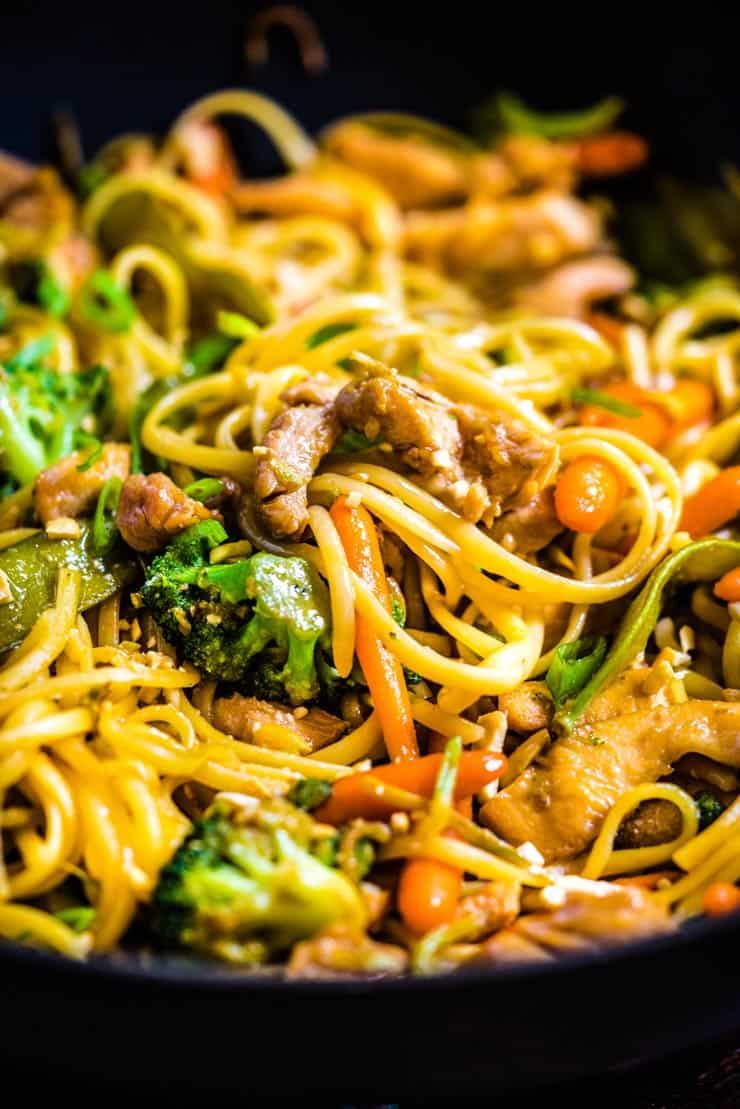 Chicken Lo Mein recipe in a wok