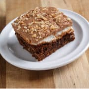 Mississippi mud brownie square on a white plate and wood board
