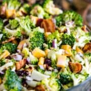 Cold Broccoli Salad with bacon, cheese, currants, sunflower seeds and a sweet dressing