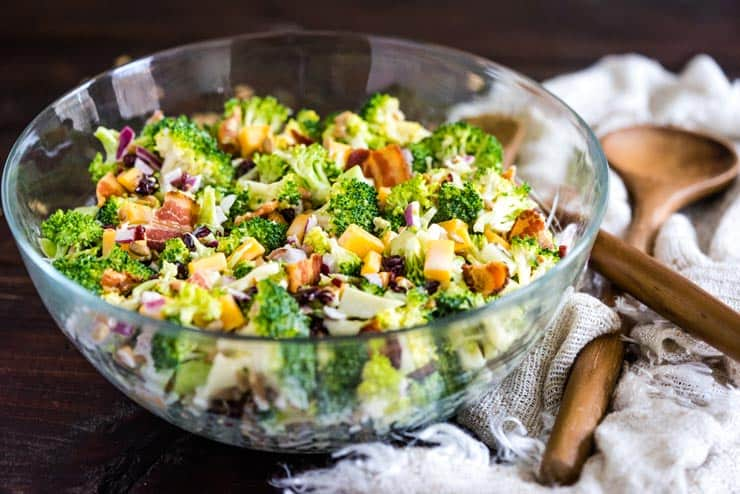 Broccoli Salad with a sweet dressing in a glass bowl