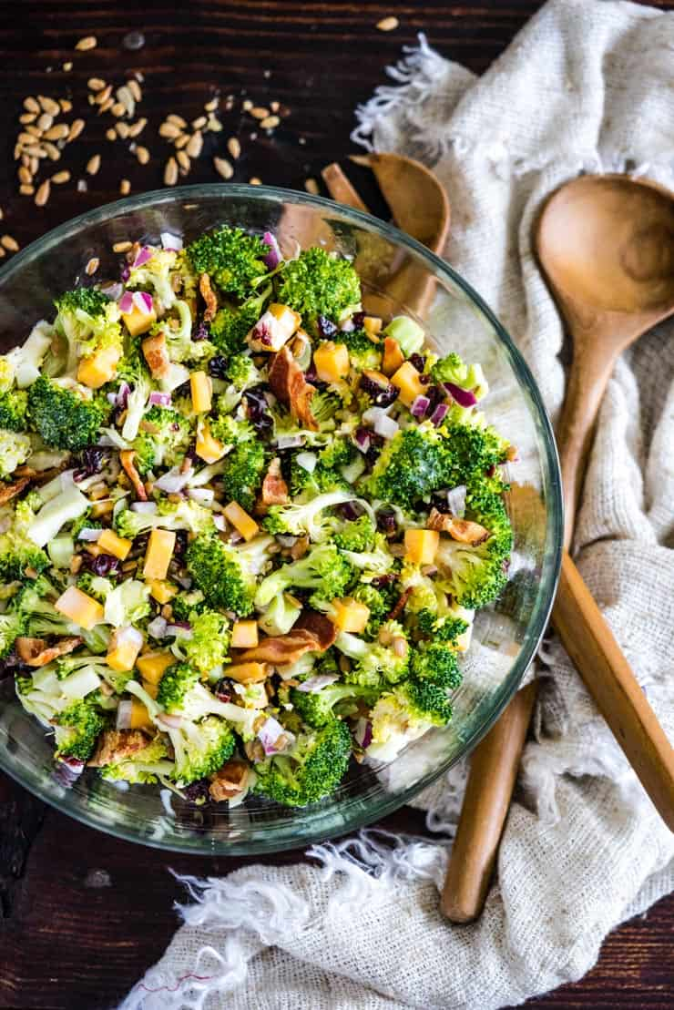 Cold Broccoli Salad with Bacon in a bowl