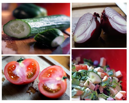 collage of cucumbers, red onion, tomato and chopped veggies