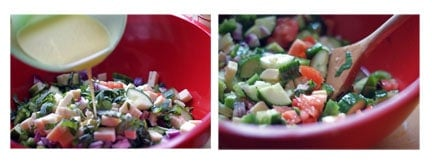 2 photos of pouring the dressing over the salad and mixing the salad in a red bowl