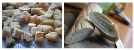 collage of slicing and toasting the bread for the salad