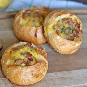Sausage and Egg Stuffed Sourdough Breakfast Rolls