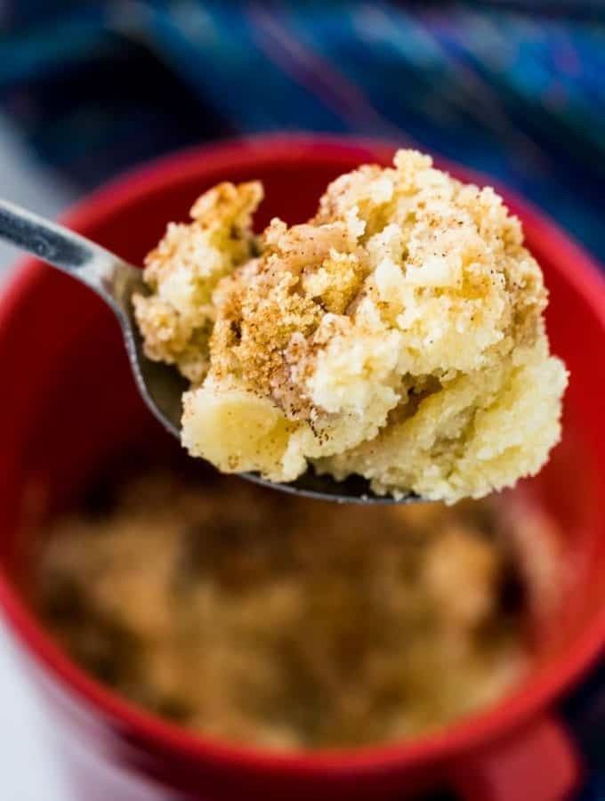Coffee Cake In A Mug-- the perfect remedy for a sugar craving when you don't want to spend a lot of time or heat up the oven. #coffee #cake #microwave #mug