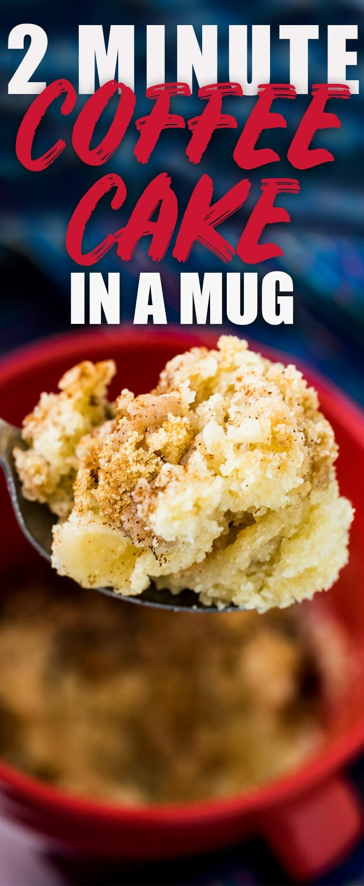This coffee cake in a mug is made in the microwave and makes for an easy fix for your sweet tooth! My recipe uses no egg and is topped with a cinnamon streusel that is to do for! Everyone that makes is can't believe how fluffy and moist it is!