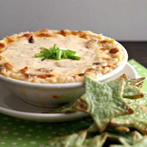 Hot and Cheesy Bacon Dip with Fun-Shaped Baked Chips