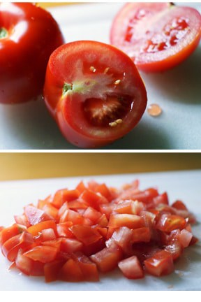 photo collage - fresh diced tomatoes.