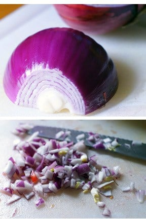 photo collage - fresh diced red onions.