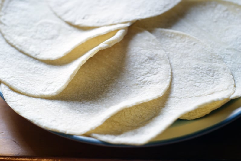 close up of corn tortillas