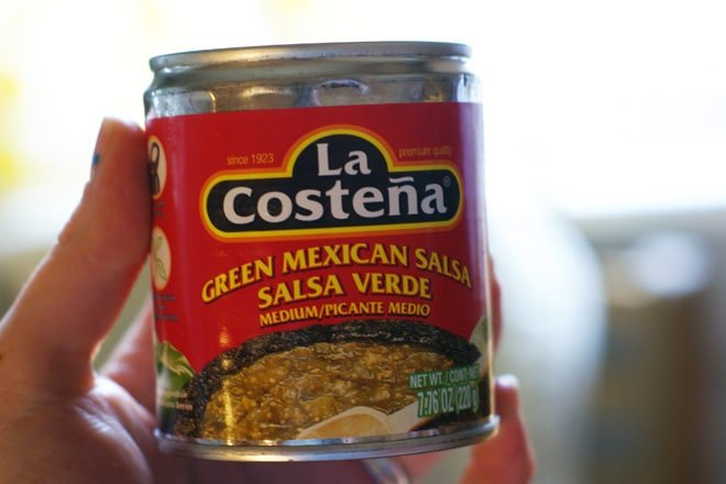 close up of can of salsa verde