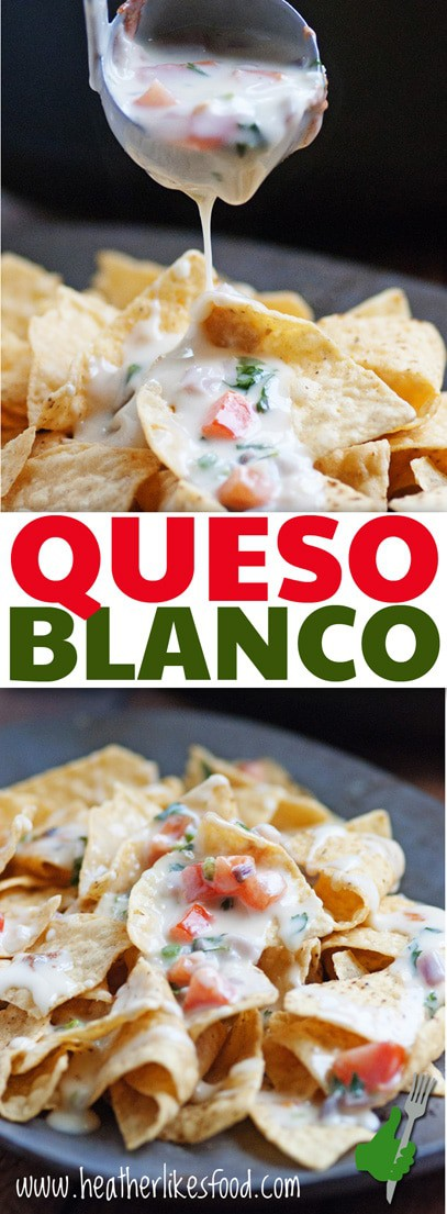 Queso Blanco Nacho Cheese is creamy deliciousness for your chips that goes down to your hips. But let's not dwell on the hip thing...