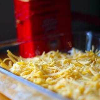 Cheese and potatoes in a glass dish