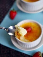 spoonful of creme brulee up close