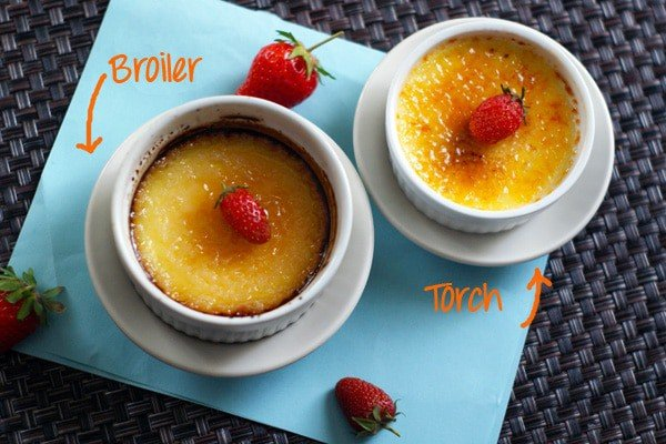 2 Creme Brulees-- 1 cooked under the broiler, the other with the torch