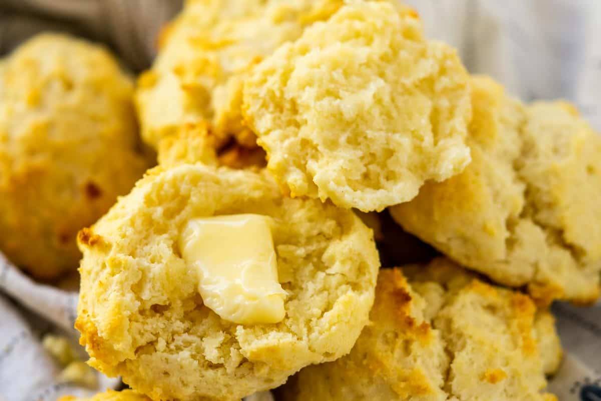 Drop biscuits in a pile with butter on top