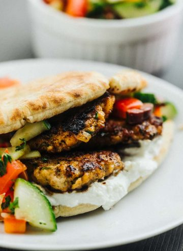 Greek Style Turkey Burgers with cucumber relish and whipped feta cheese spread