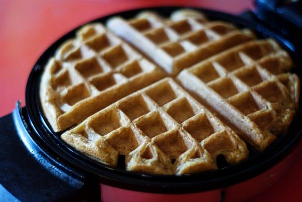 pumpkin waffle baking in waffle maker