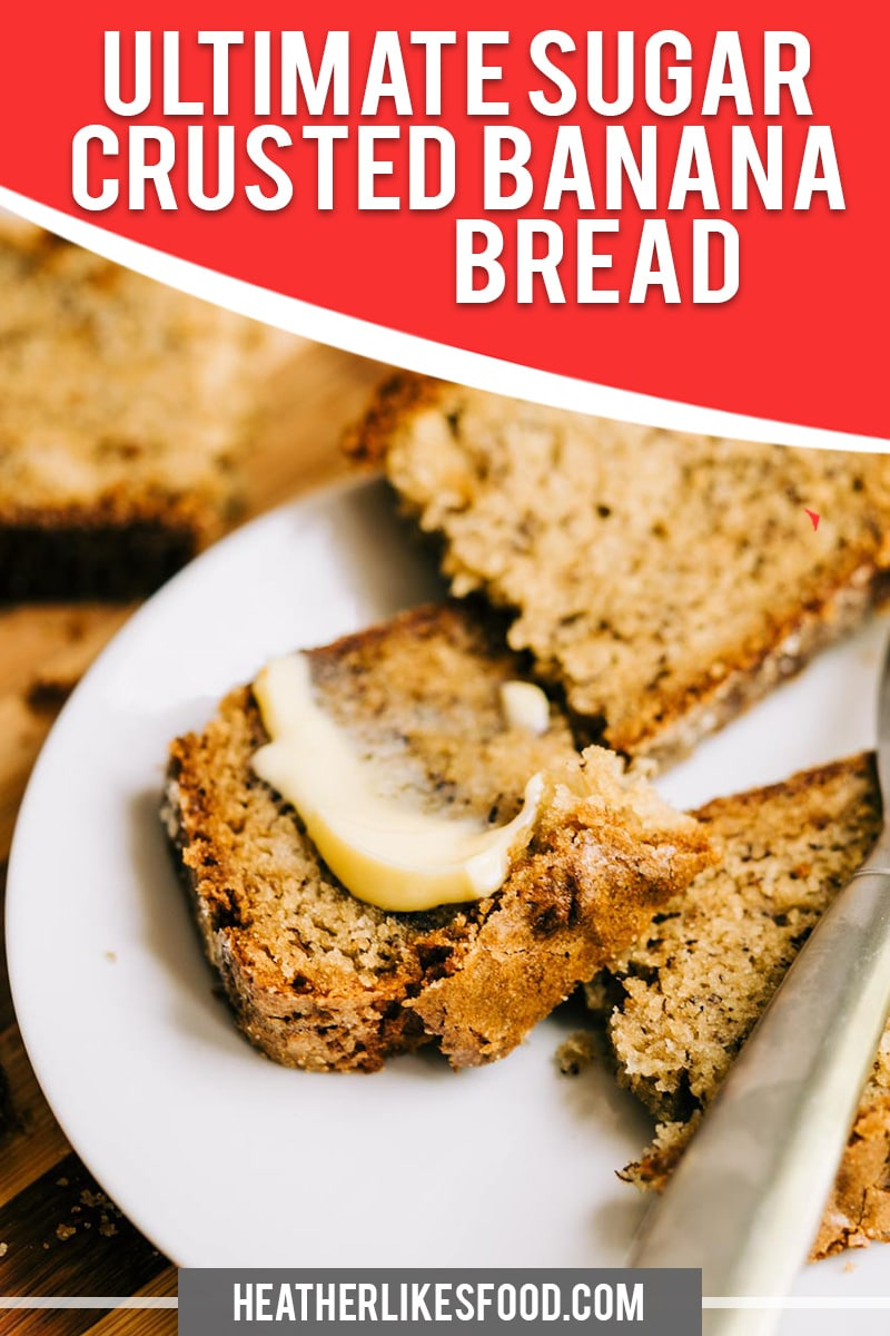 Super moist and tender, this bread is coated with a sugary crust! Add chocolate chips or toasted walnuts for an ultimate banana bread recipe! Sturdy enough for toasting and won't crumble! All recipes on HLF are community tested before posting, are 100% delicious and work! via @hlikesfood