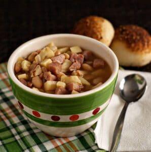Smoky Ham, Bean, Sweet Potato Soup