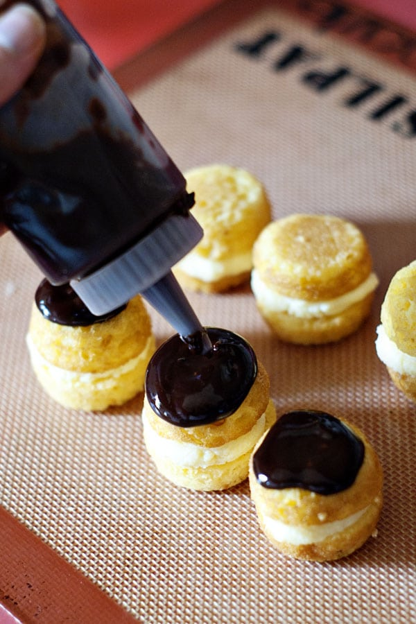 Bite-sited Boston cream pie