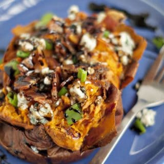 Balsamic Glazed Loaded Sweet Potatoes