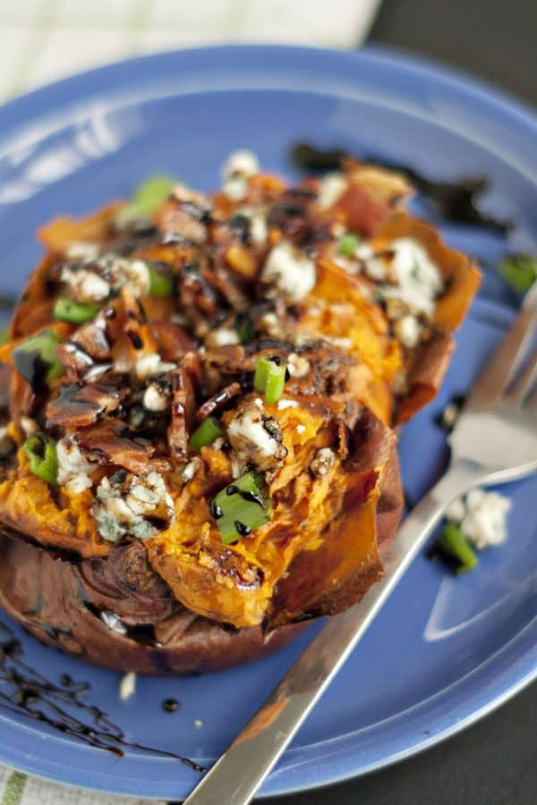 Balsamic Glazed Loaded Baked Sweet Potatoes + a Giveaway!