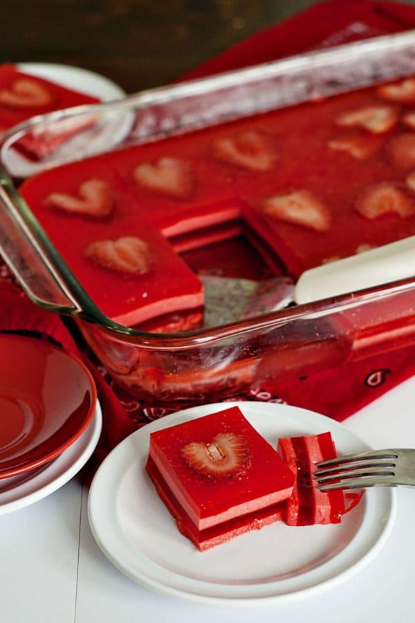Valentine's Layered Jello Squares