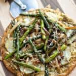 Potato Asparagus and Caramelized Onion Flat Bread   heatherlikesfood.com