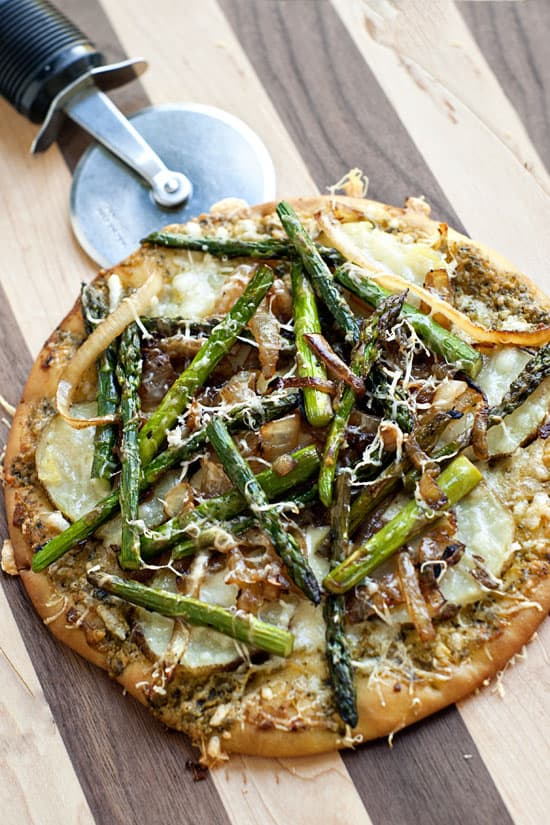 Potato Asparagus and Caramelized Onion Flat Bread