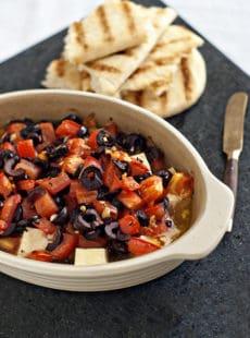 Baked Feta with Olives and Tomatoes   heatherlikesfood.com