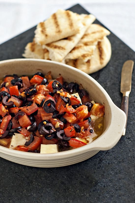 Baked Feta with Olives and Tomatoes | heatherlikesfood.com