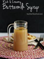 Creamy Buttermilk syrup in a glass jar.