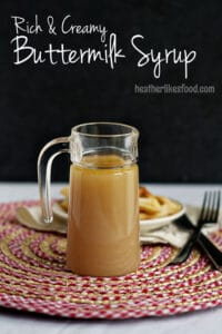 Creamy Buttermilk syrup in a glass jar.