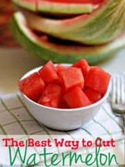 Delicious and fresh watermelon cubes in a white bowl.