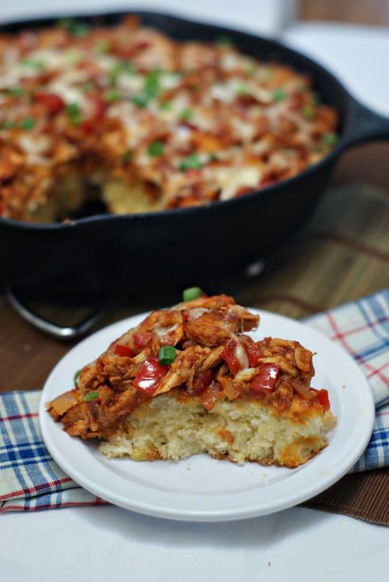 BBQ Chicken Corn Bread Pie