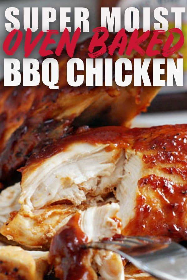 This oven baked BBQ chicken recipe gives you delicous bbq chicken that is so easy to make!! I share all my tips for making it as moist and juicy as possible. Get your BBQ fix with this recipe during the holidays and cold winter months. #bbq #chicken #oven #juicy