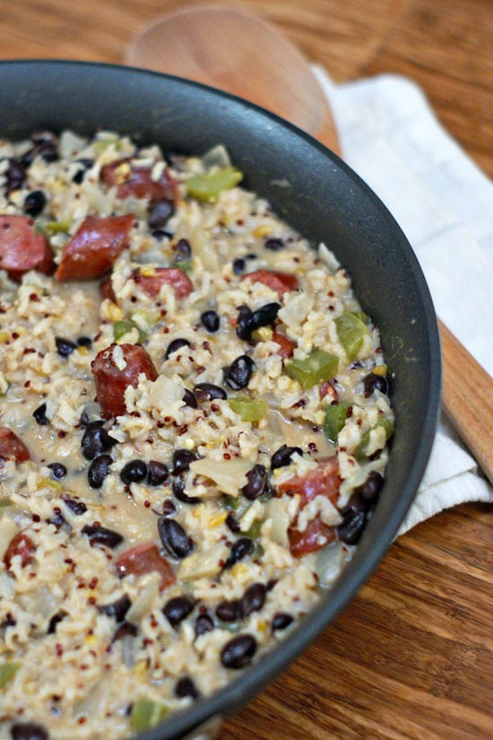 Cheesey Sausage and Rice Skillet | Heatherlikesfood.com