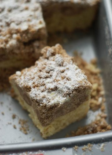 Slice of delicious crumb cake in a cake pan.