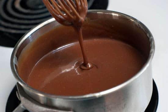 Hot fudge recipe in a silver saucepan.