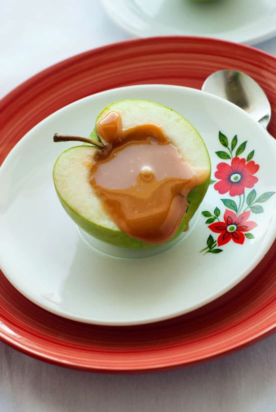 Inside-Out Caramel Apple Sundaes on a small white serving plate.